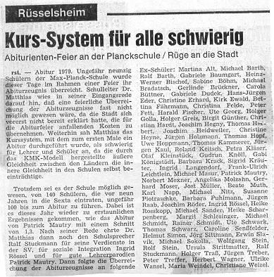 Zeitungsbericht Abitur 1979