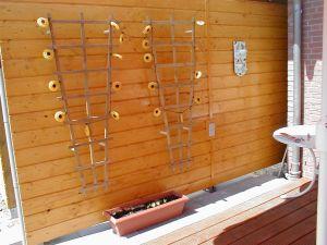 Foto: Holzwand mit Rankgitter und Sonnenblumen-Lichterkette