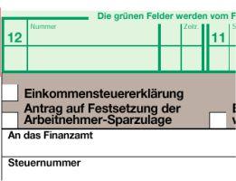 Bild: Ausschnitt aus dem Formular für die Einkommensteuererklärung