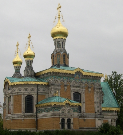 Russische Kapelle mit goldenen Türmchen