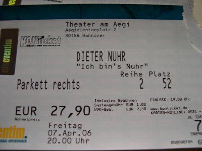 Eintrittskarte Dieter Nuhr