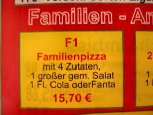 Altes Angebot des Pizzabringdienstes
