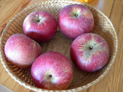 fünf rote Äpfel in einem Körbchen