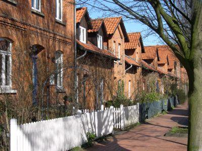Häuserreihe in der ehemaligen Arbeitersiedlung