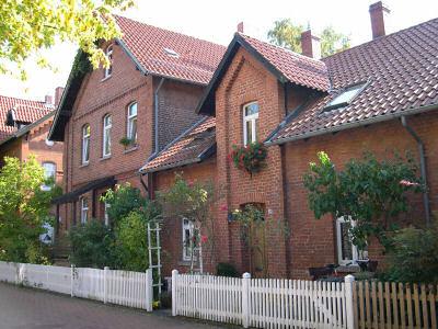 Backsteinhäuser in der ehemaligen Arbeitersiedlung