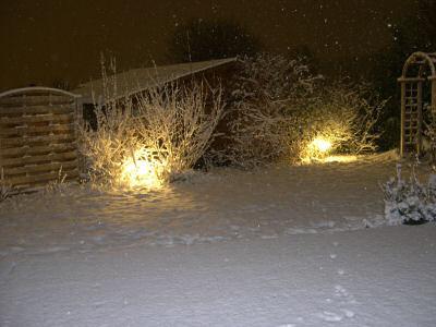 verschneiter Garten am Abend mit Beleuchtung