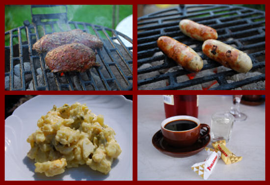 Fleisch und Würstchen auf dem Grill, Kartoffelsalat und Getränke