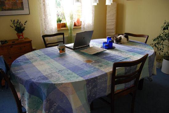 Gesamtansicht Tisch mit Tischdecke
